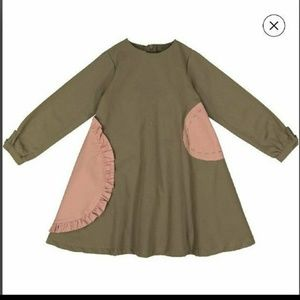 Size 12 olive green and pink cotton dress new